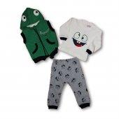Gülenyüz Kapüşonlu Yelekli 3lü Bebek Eşofman Takım Yeşil