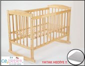 Ceebebek 60x120 Eva Ahşap Bebek Beşik Çocuk Karyola Park Yatak Kademe Sallanma Anne Yanı Ücretsiz Kargo Yatak Hediyeli