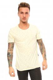 Kendinden Desenli Basic Sarı Erkek T Shirt