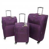 Nk 3 Lü Valiz Seti Hafif Kumaş Bavul Mor 020