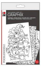 Marabu Graphix Colouring Card Set 12 Li Poodledoodle
