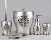 By Selim Home Scarlet Gümüş 5 Parça Polyester Banyo Seti