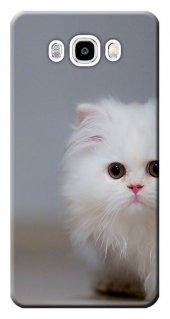 Samsung Galaxy J5 2016 Kılıf Sm J510 Silikon Baskılı Beyaz Kedi S
