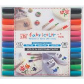 Zig Fabricolor Twin Çift Uçlu Kumaş Boyama Kalemi 24 Renk Set