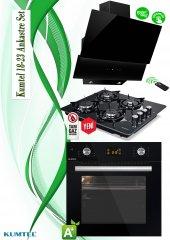 Kumtel Siyah Cam Dijital Ankastre Set(18 23)