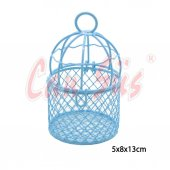 10lu Metal Tel Kuş Kafesi Mavi 13cm