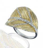 Altın Kaplama Zirkon Taşlı Gümüş Bayan Yüzük