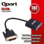 Qport Q Vdv2 Dvi 24+1 To Vga Aktif Dönüştürücü