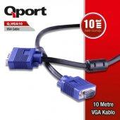 Qport Q Vga10 15 Pin Fitreli 10 Metre Vga Kablo