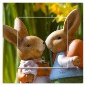 Dekoratif Baskılı Elektrik Düğmesi Priz Kapı Zili Tavşan Çift