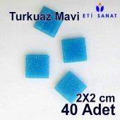 Cam Mozaik Taşı Turkuaz Mavi 40lı Paket