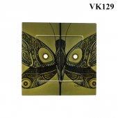 Dekoratif Baskılı Elektrik Düğmesi Priz Kapı Zili Kelebek Resmi