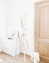 Ceebebek Ahşap Çubuk Askılık Vestiyer Çocuk Yatak Odası Ofis Portmanto Antre Askısı Naturel Beyaz Ücretsiz Kargo