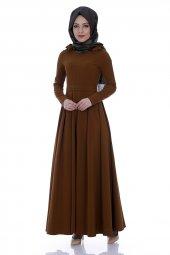 Omuz Detaylı Pileli Elbise 6102 Taba