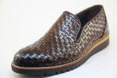 8958 Kahverengi El Örgüsü Hakiki Deriden Makosen Model Eva Taban Ayakkabı