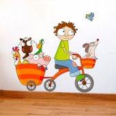 Dekorloft Bisikletli Çocuk Odası Duvar Sticker Cs 292
