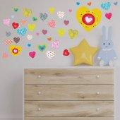 Dekorloft Mutlu Kalpler Çocuk Odası Duvar Sticker Cs 300