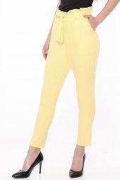Bel Lastik Kuşaklı Bayan Pantolon Sarı 0012