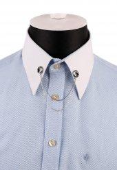 Gümüş Renk Taşlı Zincirli Gömlek Yaka İğnesi Gı153