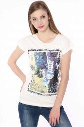 Baskılı Bayan T Shirt Krem 0246