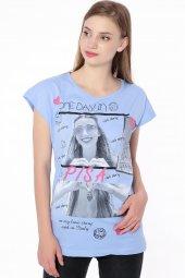 Baskılı Bayan T Shirt Mavi 0247