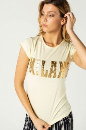 Milano İnci Varak Baskılı Bayan T Shirt Sarı 0277