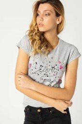 Baskılı Bayan T Shirt Gri 0280