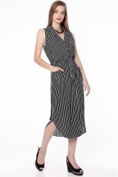 çizgili Kolsuz Elbise Siyah 230