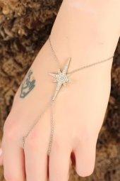 Silver Renk Kutup Yıldızı Figürlü Zirkon Taşlı Şahmeran
