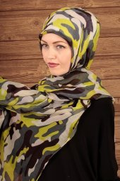 Yeşil Renk Kamuflaj Desenli Clariss Marka Pamuklu Kumaş Trend Bay
