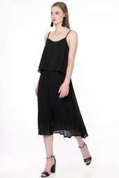 Askılı Pliseli Elbise Siyah 584