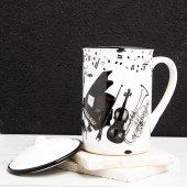 Porselen Kapaklı Emaye Görünümlü Kupa Bardak Instrument