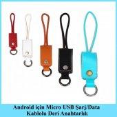 Android İçin Micro Usb Şarj Data Kablolu Deri Anahtarlık Kahverengi