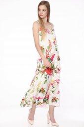 Askılı Çiçekli Şifon Elbise Beyaz 0927