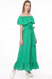Madonna Yaka Uzun Elbise Yeşil 2490
