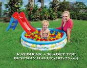 Bestway 102x25 Cm Havuz Çocuk Kaydırağı 50 Adet Top Set
