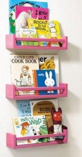 Ceebebek Ahşap Duvar Raf Bebek Çocuk Odası Montessori Pembe Kitaplık 3pem40 Ücretsiz Kargo