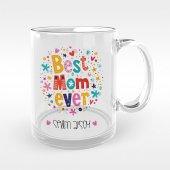 Kişiye Özel En İyi Anne Tasarımlı Cam Kupa Bardak 7