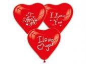 ı Love You Baskılı Kalp Balon 100 Adet