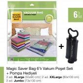 Magıc Saver Bag 6lı Set Karışık Vakumlu Poşet Pompa Hediyeli
