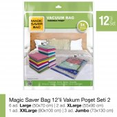 Magıc Saver Bag 12 Li Vakumlu Poşet Seti 2 Tüy Toplayıcı Hediye