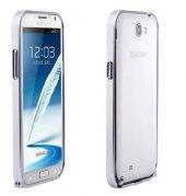 Microsonic Galaxy Note 2 Ultra Thin Metal Bumper Kılıf Gümüş