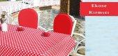 Bahçe Masa Seti Ekose Kırmızı
