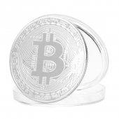 Bitcoin Gümüş Kaplama Hatıra Madeni Maket Parası