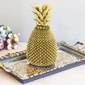 Polyester Altın Yapraklı Ananas Biblo