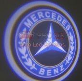 Mercedes Benz Araçlar İçin Pilli Yapıştırmalı Kapı Altı Led Logo