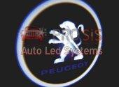 Peugeot Araçlar İçin Pilli Yapıştırmalı Kapı Altı Led Logo