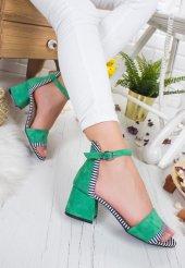 Trac Yeşil Süet Tek Bant Topuklu Bayan Ayakkabı