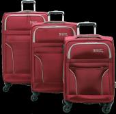 Bagtone, Kalın Kumaş 3lü Valiz Seti, Kırmızı