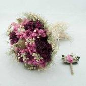 Fuşya Pembe Kuru Gelin Buketi Gelin Çiçeği Yaka Çiçeği Hediyeli
